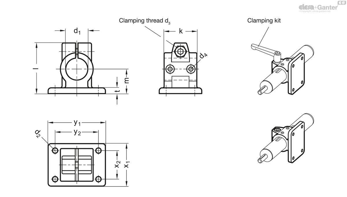 GN 146 1 Flanged linear actuator connectors   Elesa+Ganter