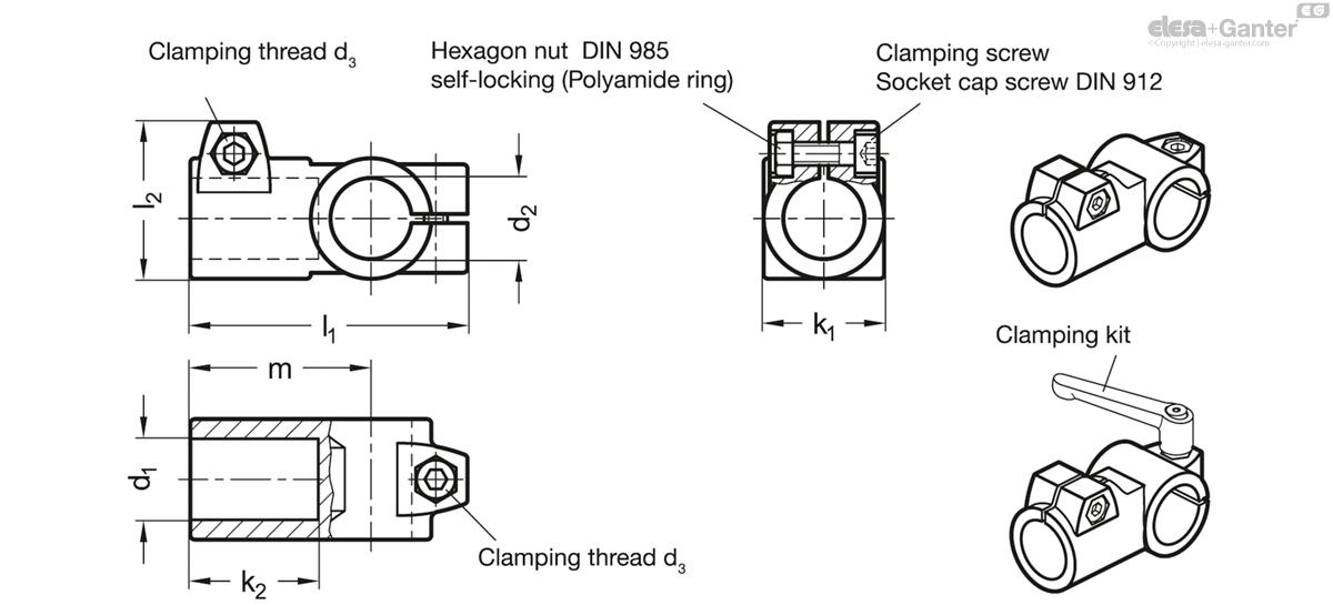 GN 192 T-Angle connector clamps | Elesa+Ganter