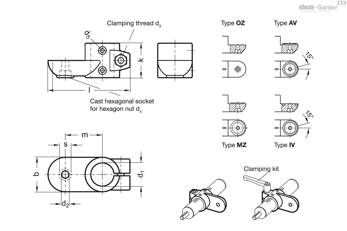 gn 274 1 - swivel clamp linear actuator connectors