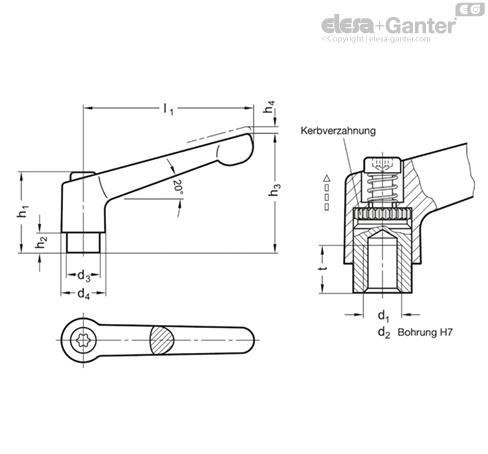 Ganter Normelemente Griffl/änge: 108mm GN 300-108-M12-63-SW Verstellbare Klemmhebel mit Gewindeschraube 1 St/ück Schraube Stahl br/üniert kunststoffbeschichtet Griff Zink-Druckguss schwarz