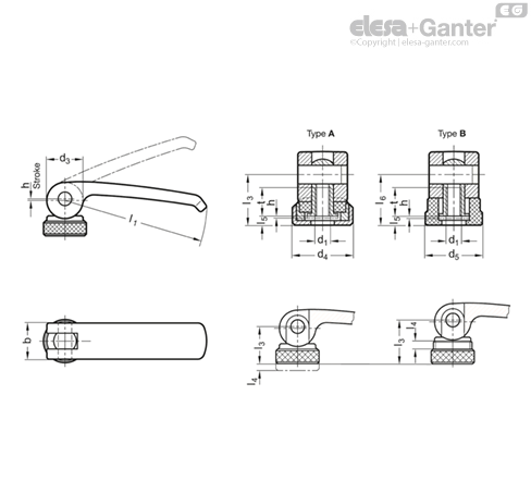 GN 927 Clamping levers with eccentrical cam | Elesa+Ganter