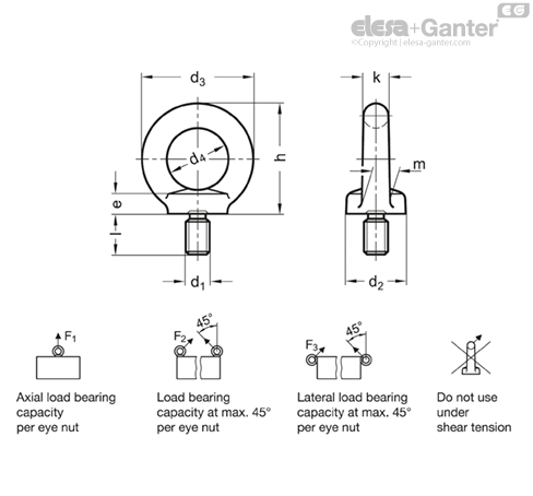 DIN 580 Lifting eye bolts | Elesa+Ganter