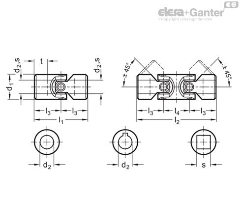 DIN 808-NI Universal joints   Elesa+Ganter