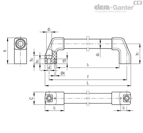 Aluminium tube with epoxy resin coating, front mounting | Elesa+Ganter